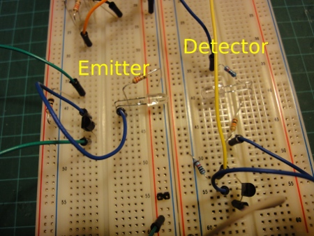 Breadboarded circuits, emitter on the left, detector on right